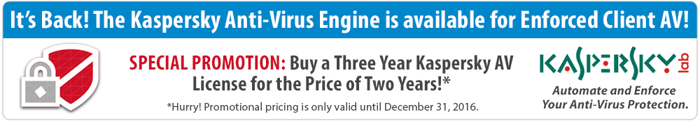 Buy a three-year Kaspersky AV License for the price of two years!