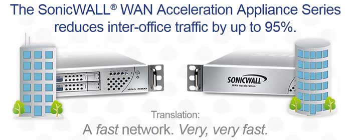 The SonicWALL WAN Acceleration Appliance Series reduces inter-office traffic by up to 95%