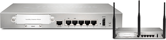 SonicWALL NSA 250M Wireless-N Appliance Back View
